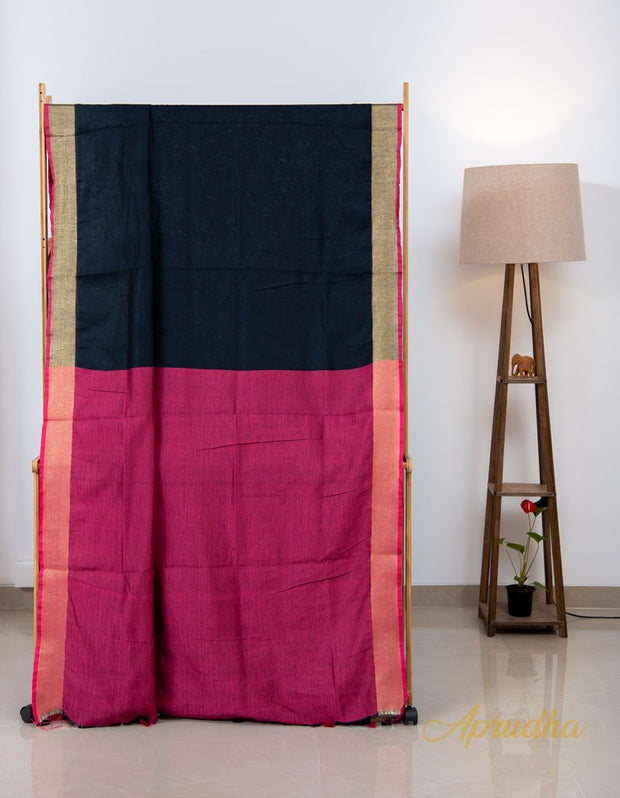 Midnight Black Linen Saree