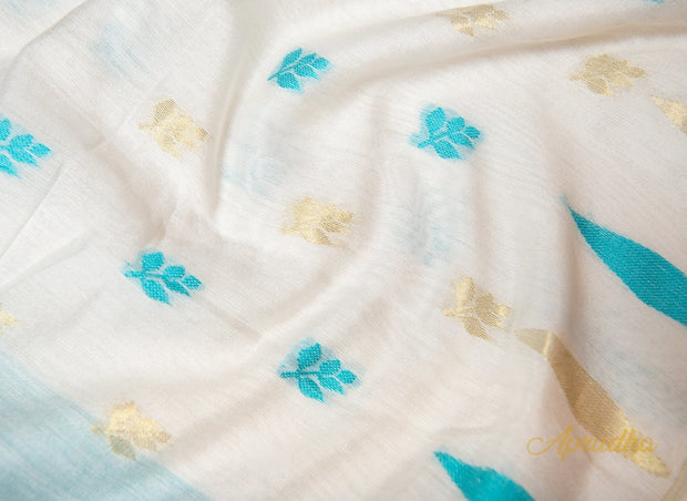 Fresh White & Blue Soft Jamdani Saree