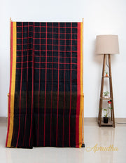 Striking Black Contrast Checkered Linen Saree