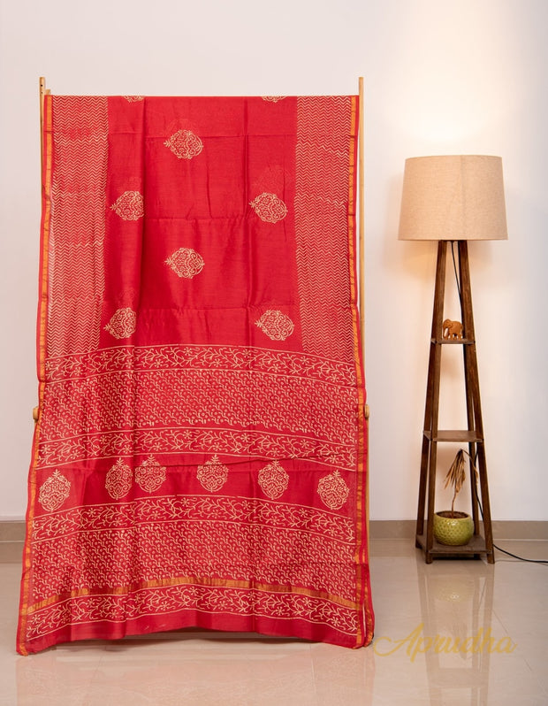 Red and Gold Hand Printed Chanderi Saree