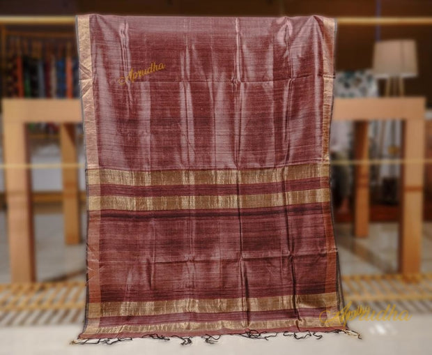 Syrup Brown Silk Saree