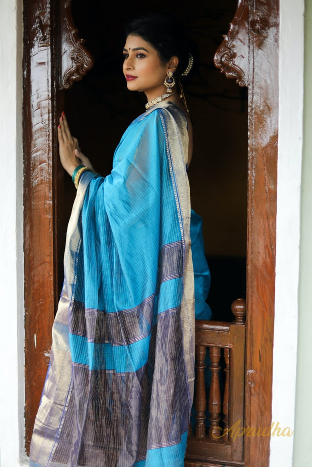 Deep Sky Blue Silk Cotton Saree