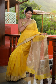 Cosmic Yellow Silk Cotton Saree