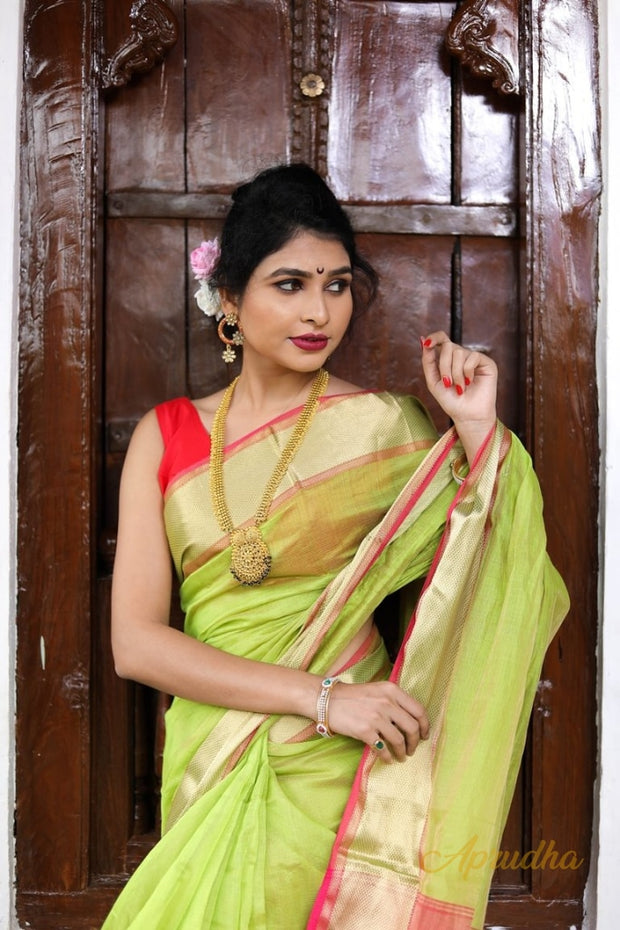 Lime Green Silk Cotton Saree