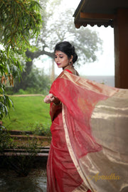 Rose Red Silk Cotton Saree