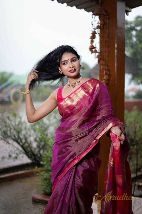 Rain Purple Silk cotton saree with goldern zari border