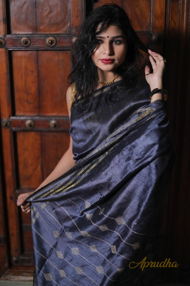 metallic grey silk saree