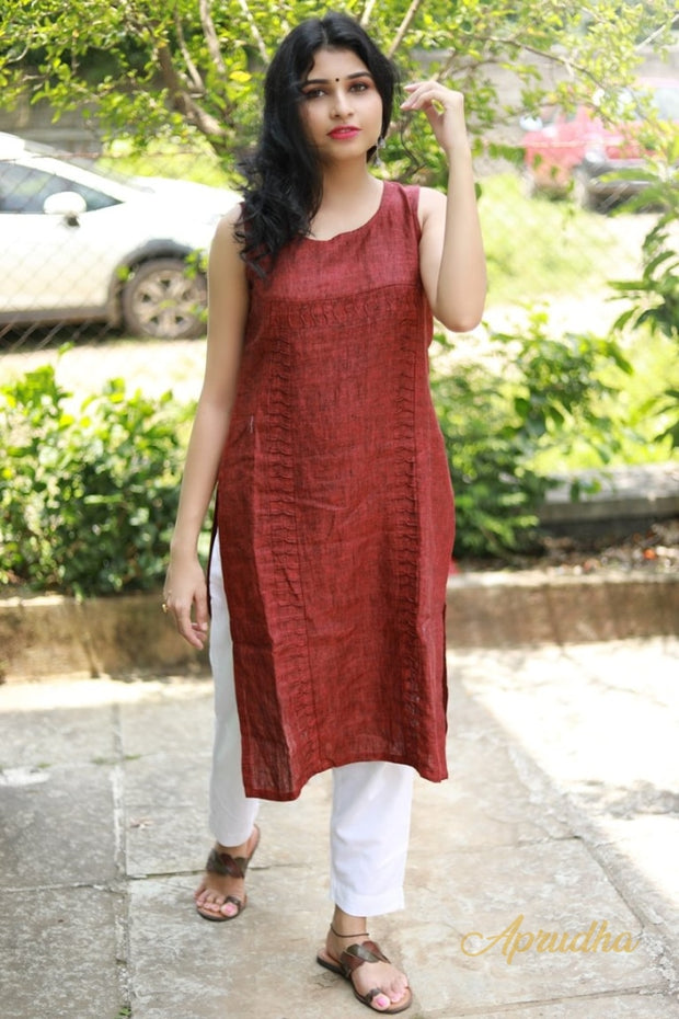 Brick Red Linen Sleeveless Kurta and White Pant Set