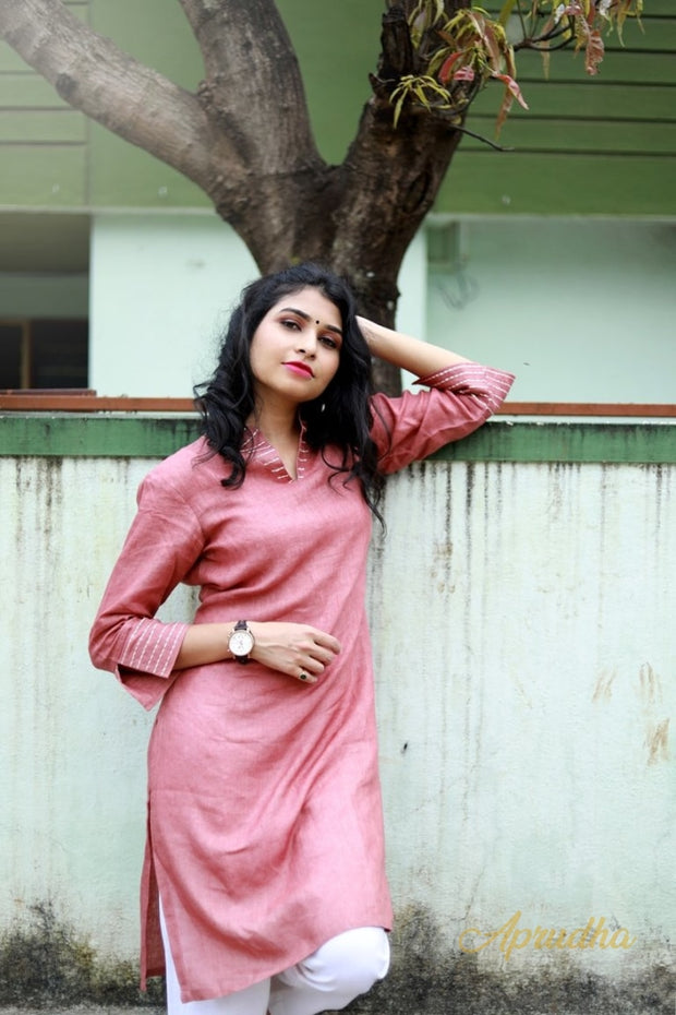 Pale Rosewood Embroidered Linen Kurta and White Pant Set