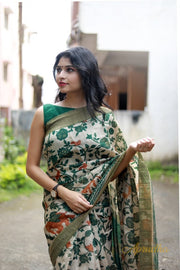 Timeless Beige And Forest Green Floral Hand Printed Saree