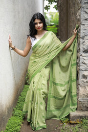 Green Polka Dots Mul Cotton Saree
