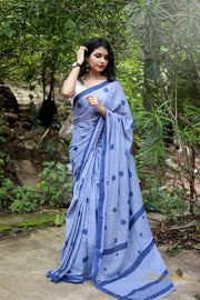 Blue Polka Dot Mul Cotton Saree