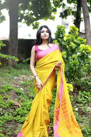 Lime Green And Yellow Cotton saree