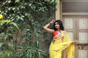 Yellow Hand Block Printed Mul Cotton Saree