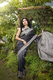 Lead Black Madhubani Hand-Painted Ghicha Tussar Silk Saree - Aprudha