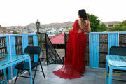 Charming Red Chiffon Saree