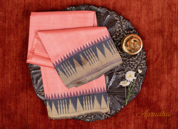 Salmon Pink Kosa Pattu Saree