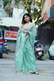 Powder Green Fine Muslin Jamdani Saree - Aprudha