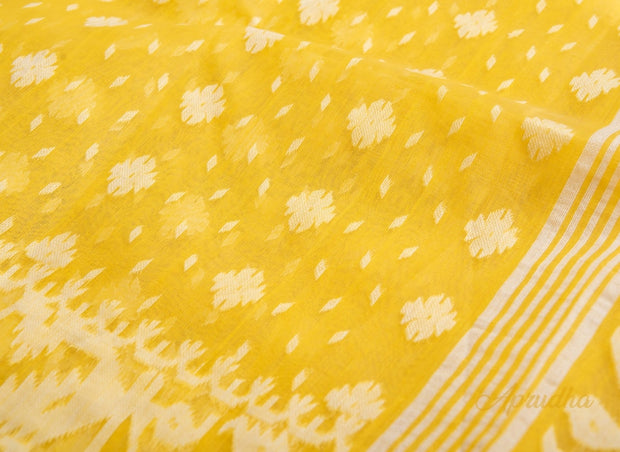 Primrose Yellow Pure Cotton Jamdani Saree - Aprudha