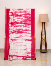 White and Pinkish Red Shibori Chanderi Saree