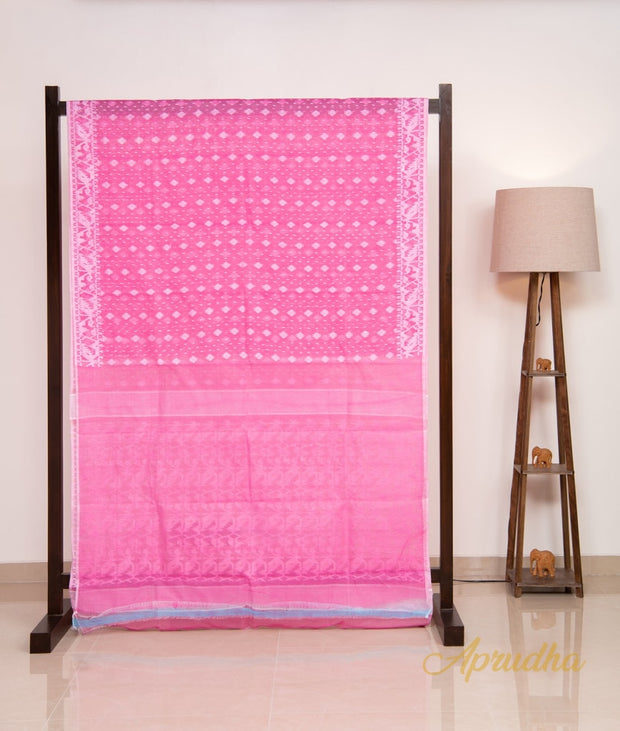 Pink & White Pure Jamdani Saree
