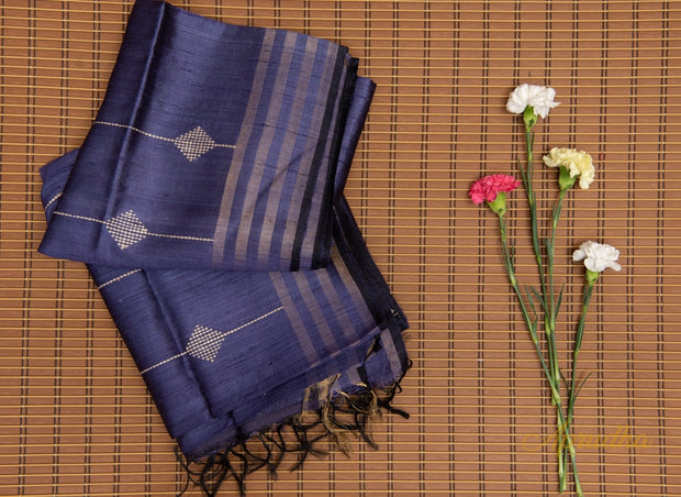 Space Blue Silk Saree