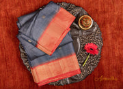 Slate Grey Kosa Pattu saree
