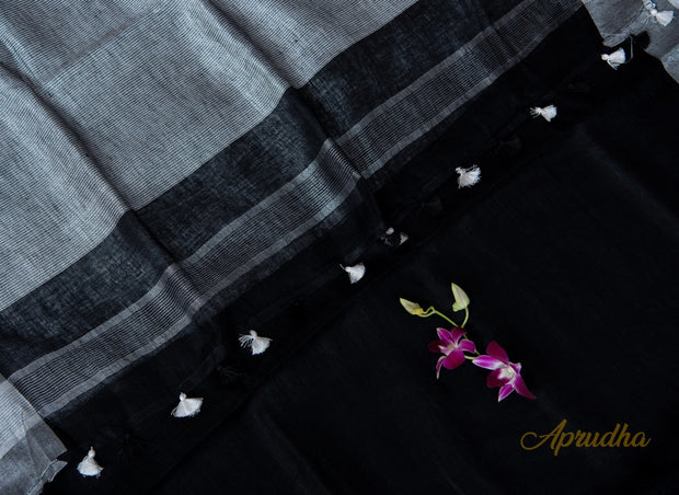 Black & Grey Linen Saree - Aprudha