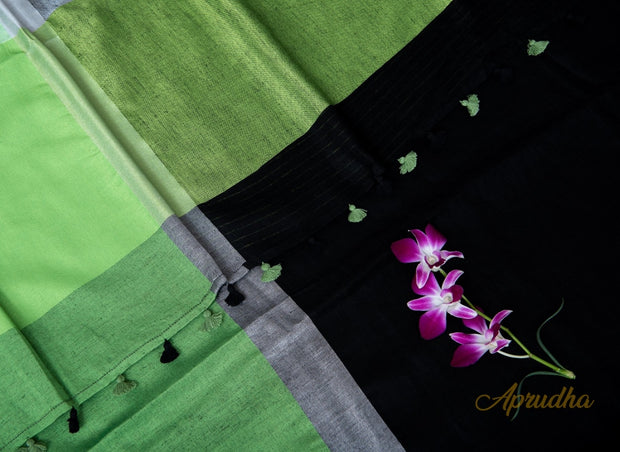 Black and Chartreuse Green Linen Saree - Aprudha