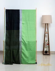 Black and Chartreuse Green Linen Saree