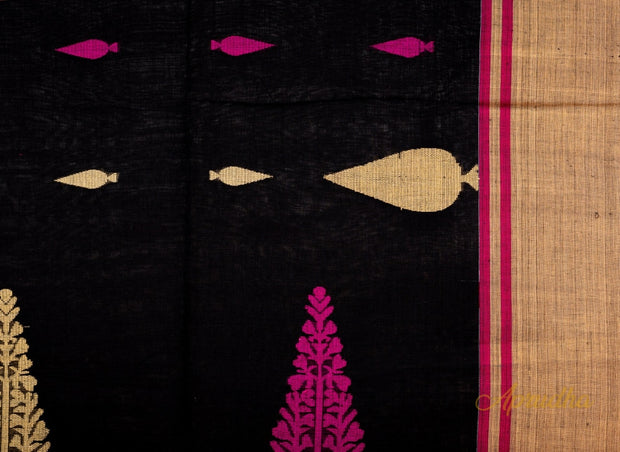 Black Cotton Adorned pallu saree