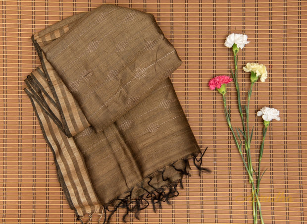 Peanut Brown Silk Saree