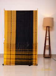 Black and yellow Cotton saree with