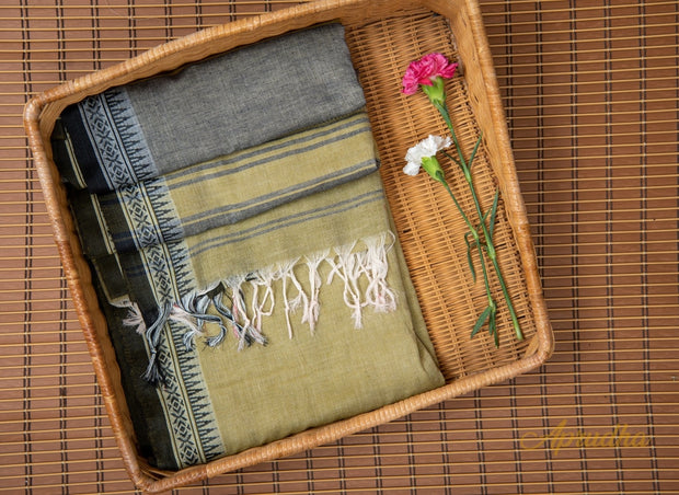 Moss Green Pure Cotton Saree - Aprudha