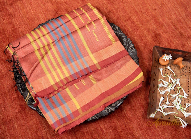 Rust Orange Silk Saree