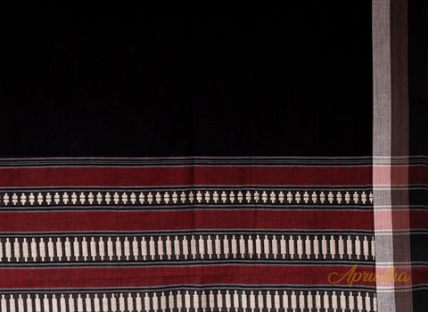 Black and Maroon Cotton Saree