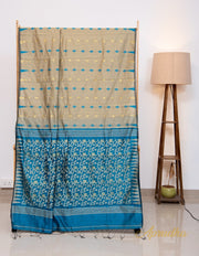 Ecru Beige and Blue Dhakai Jamdani Saree