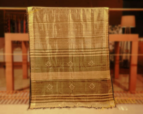 Golden Silk Saree with Contrast Pallu