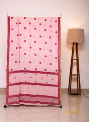 Pink Contrast Polka Dots Hand Block Printed Mul Cotton Saree
