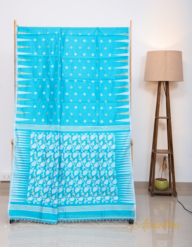 Fresh Blue and White Dhakai Jamdani Saree - Aprudha