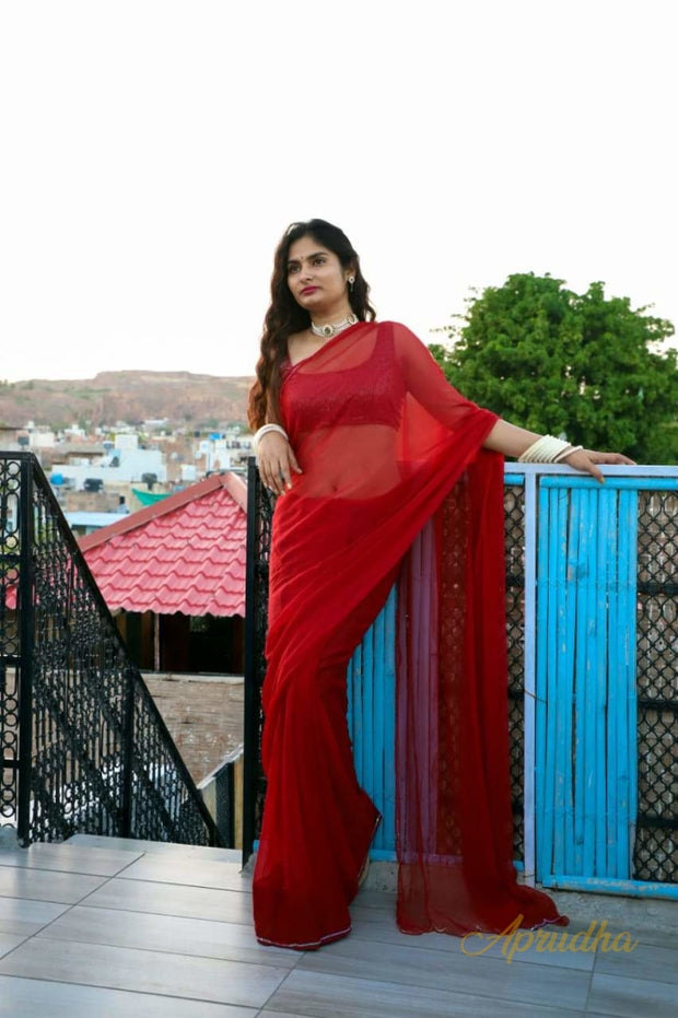 RUBY RED PURE CHIFFON SAREE - Aprudha