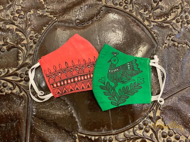 Green & Pink - Set Of Two Non Surgical Cotton Madhubani Hand-Painted Mask