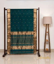 Bottle Green & Gold Silk Cotton Saree