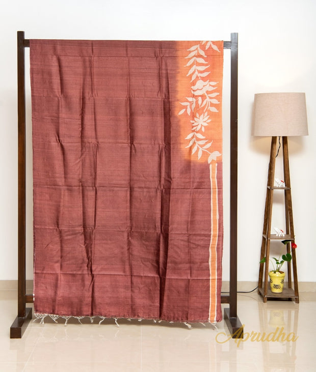 Burnt Orange Hand Printed Silk Saree