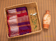Purple and Red Silk Cotton Saree