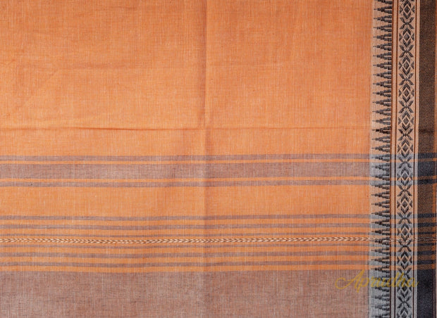 Peach Cotton Saree