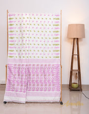 Lily White and Lavender Dhakai Jamdani Silk Saree