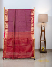 Byzantium Purple and Red Silk Cotton Saree