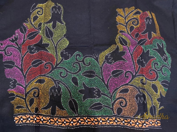 Floral Charm - Black Kantha Embroidered Blouse Piece - Aprudha
