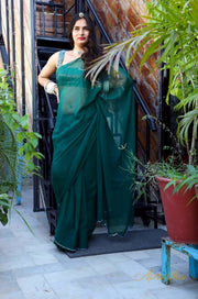 Bottle Green Chiffon Saree